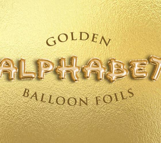 Efeito de texto Golden Balloon Foils