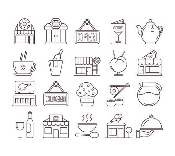 Ícones de restaurante e café