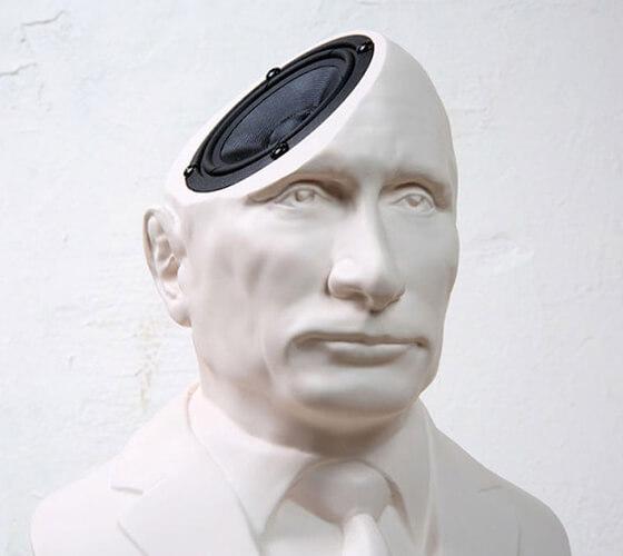 Putin, Thatcher e Kim Jong-Un como alto-falantes