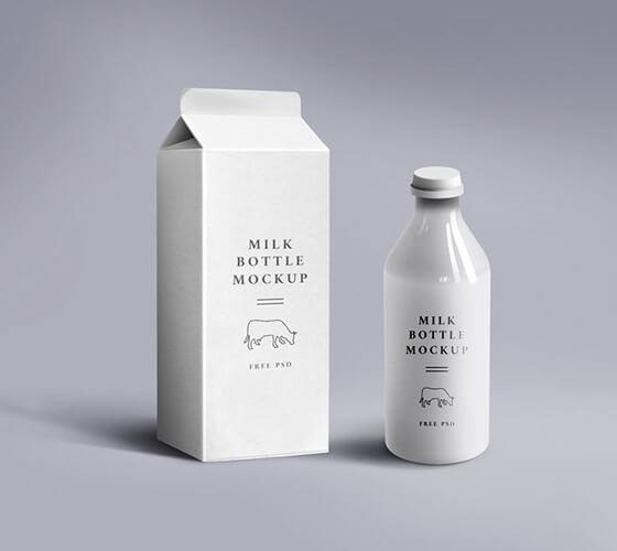 Mockup Embalagem de leite