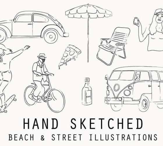 Ilustrações de praia e cotidiano