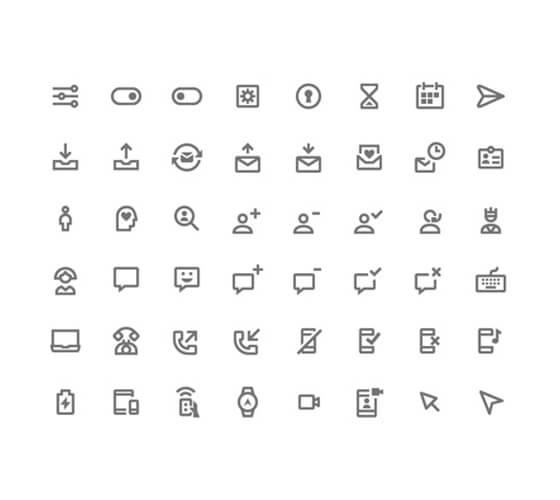 350 ícones em material design