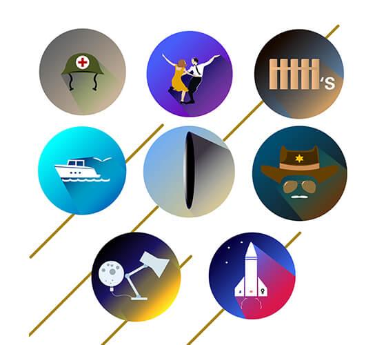 Flat logos para os melhores filmes de 2017
