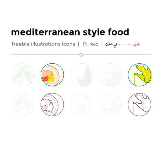 Ilustrações de comida mediterrânea
