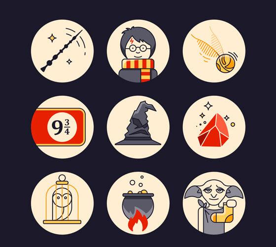 Ícones Inspirados no Universo Harry Potter