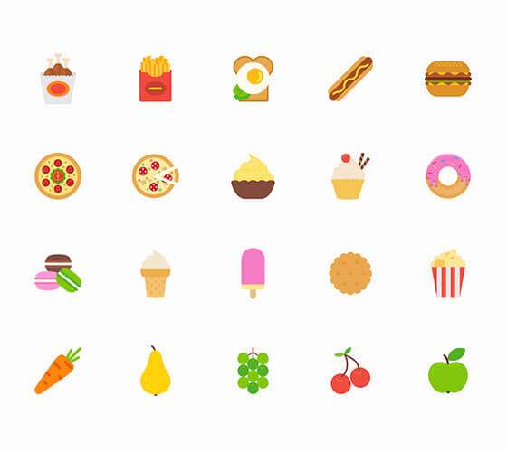 21 ícones de comida