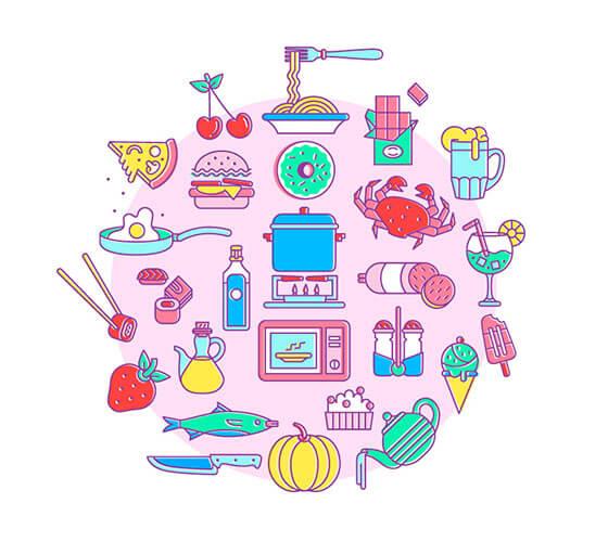 Ícones de alimentação