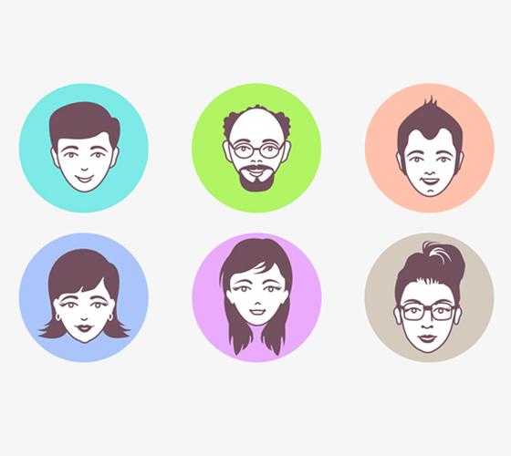 Conjunto de ícones para avatares