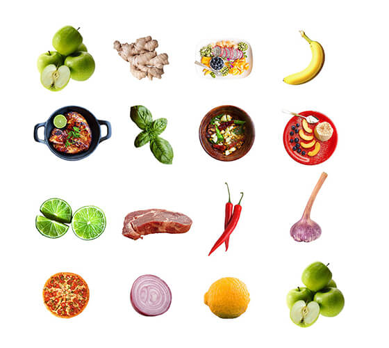 30 imagens isoladas de alimentos