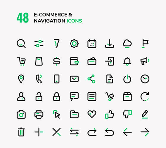Ícones de e-commerce