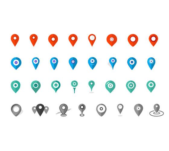 32 marcadores de localização