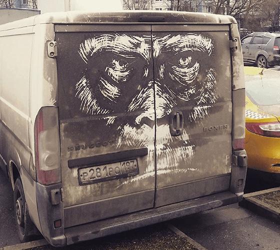 Desenhos incríveis em carros sujos