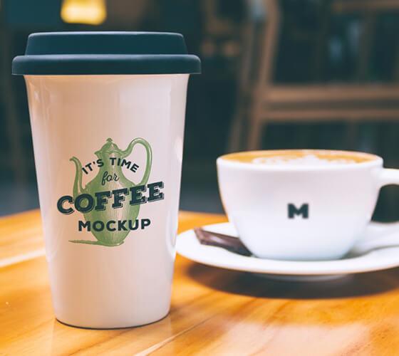 Mockup copo e xícara de café