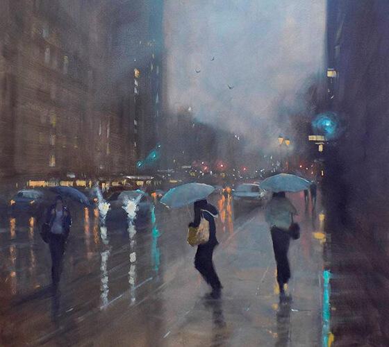 Pinturas de cenas de chuva, por Mike Barr