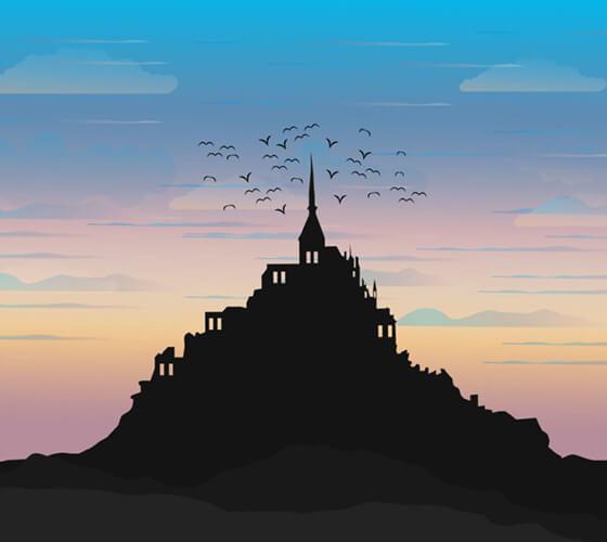 Vetor Castelo em colina
