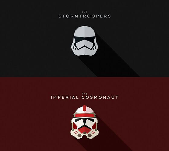Ilustrações de capacetes de Star Wars