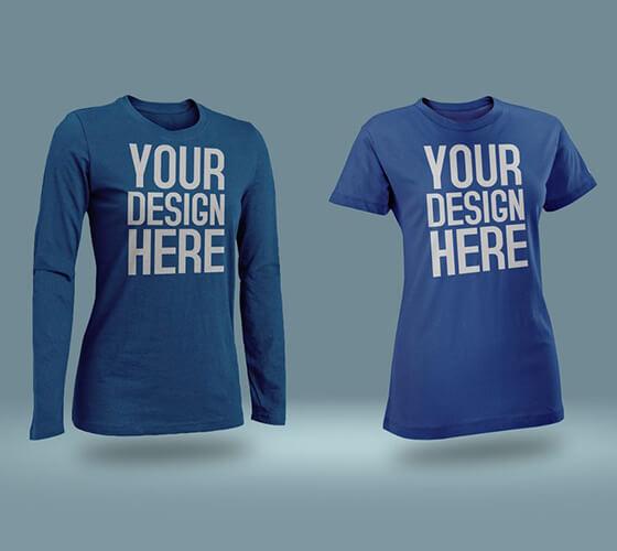 Mockup camiseta feminina e masculina