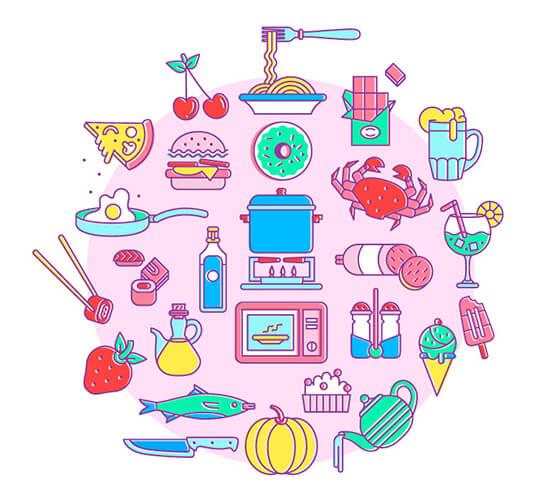50 ícones de comidas e bebidas
