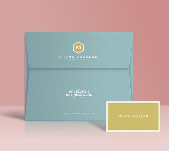Mockup Envelope e cartão de visita