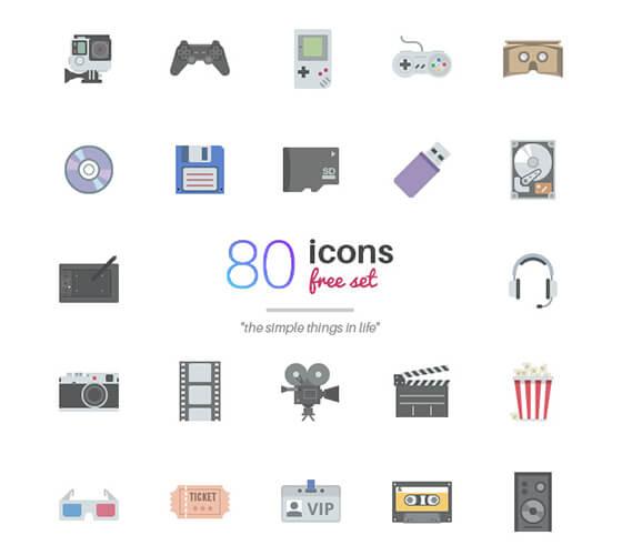 80 ícones de objetos diversos