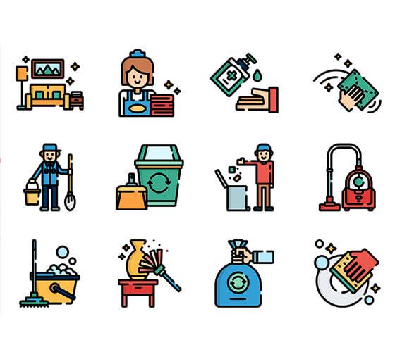 Ícones de limpeza e higiene