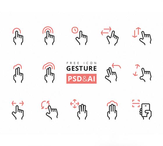 Ícones gestos