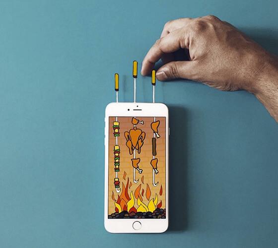 Composições criativas com smartphone e papel