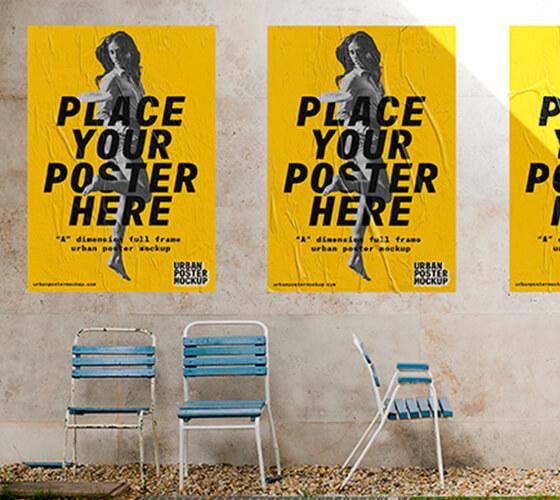 Mockup Poster em cena urbana