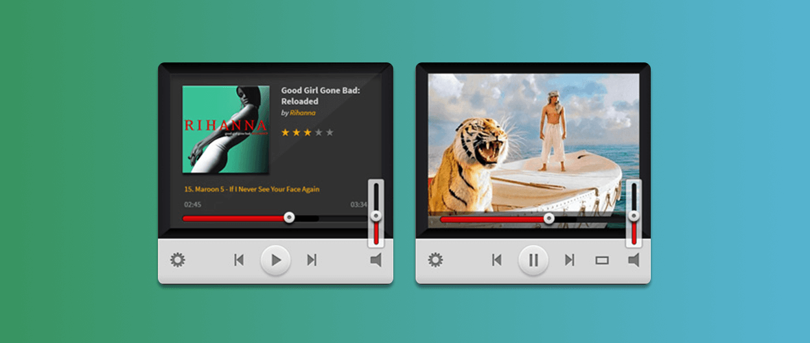 Mockup widget player de música